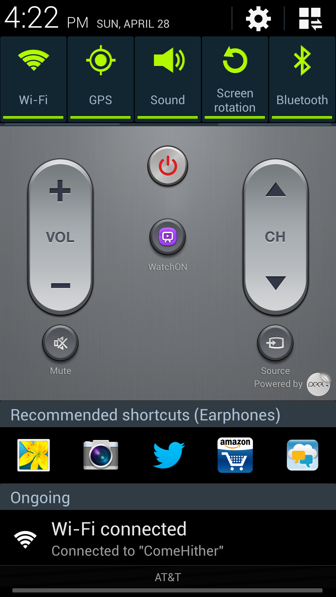 This is my notifications screen, with my TV remote always ready to hand. Note that the phone is aware that earbuds are plugged in. The software suggestions it makes are all useless, but at least it's trying. Note to Google: Heuristics. You know how to do it.